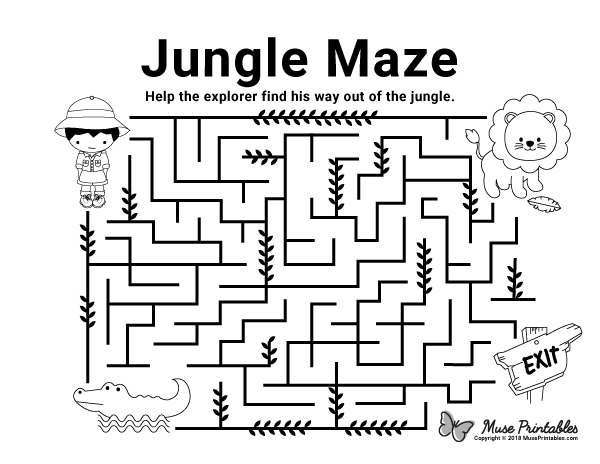 Free Printable Jungle Maze Download It From Https Museprintables Com Download Maze Jungle Scholastic Book Fair Mazes For Kids Printable Mazes For Kids