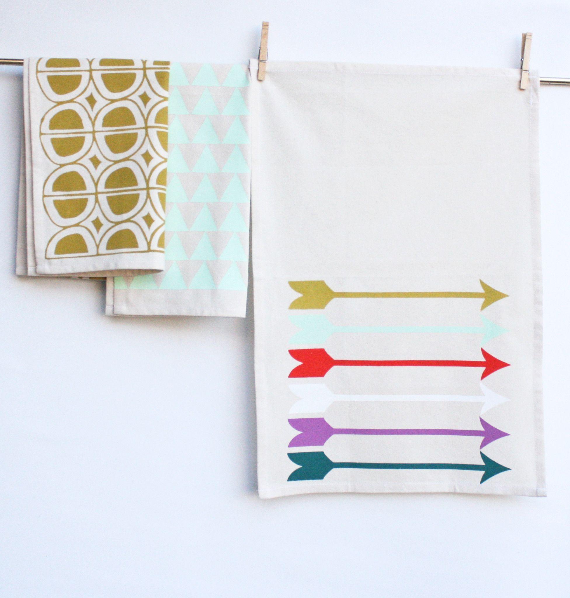Sharp Shooter- muted rainbow, hand printed rainbow arrows, decorative kitchen towel - arrow tea towel