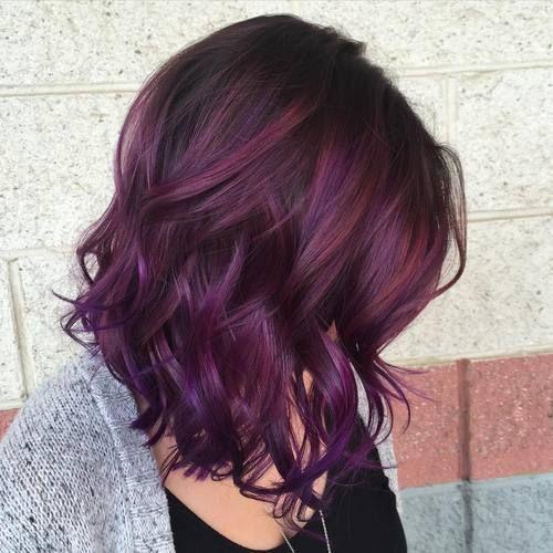 40 Versatile Ideas Of Purple Highlights For Blonde Brown And Red Hair Hair Color Plum Hair Styles Plum Hair