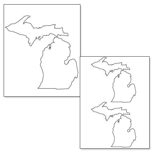 Printable Shape of Michigan from PrintableTreats.com