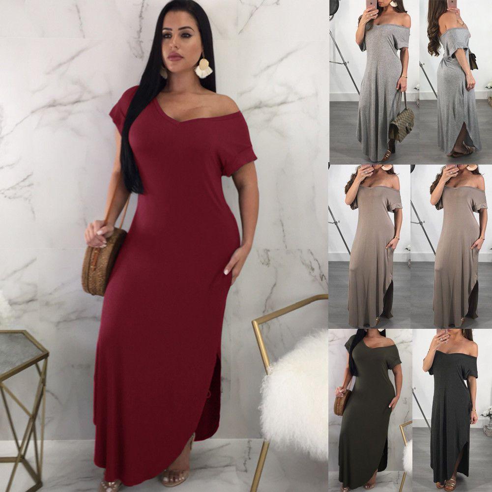 Us womenus vneck short sleeve bodycon evening party long maxi dress