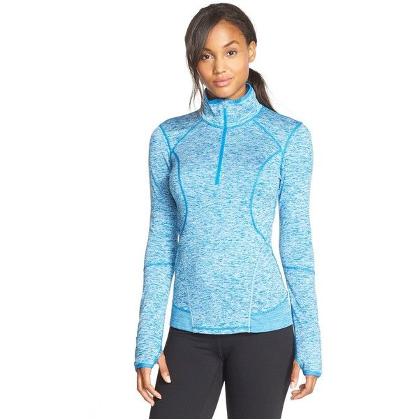 Zella 'Quick Quick' Half Zip Jacket ($78) ❤ liked on Polyvore featuring activewear, activewear jackets, blue azure, zella sportswear, zella and zella activewear