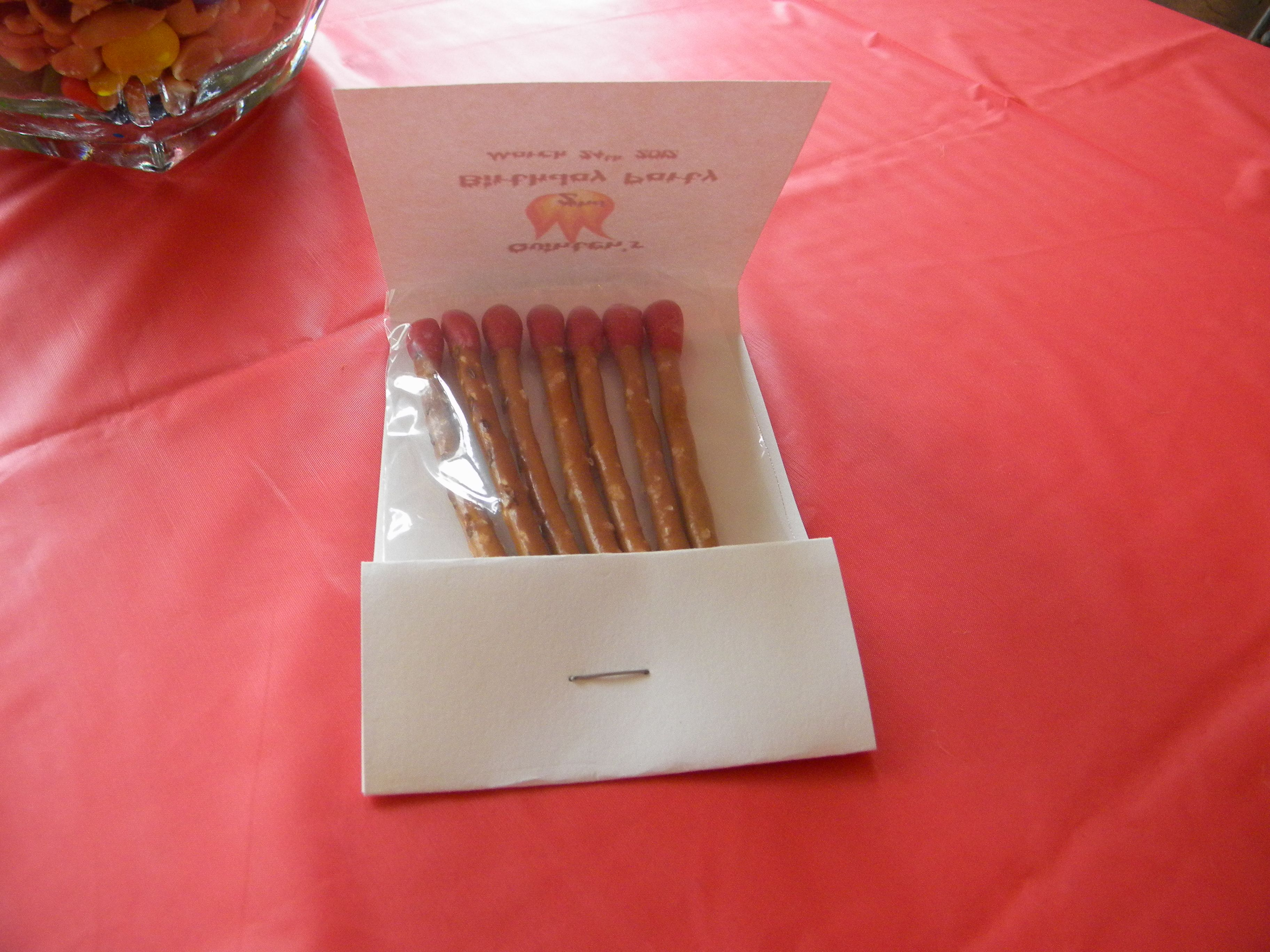 Party Favor Matchbook Made Out Of Card Stock With Pretzel