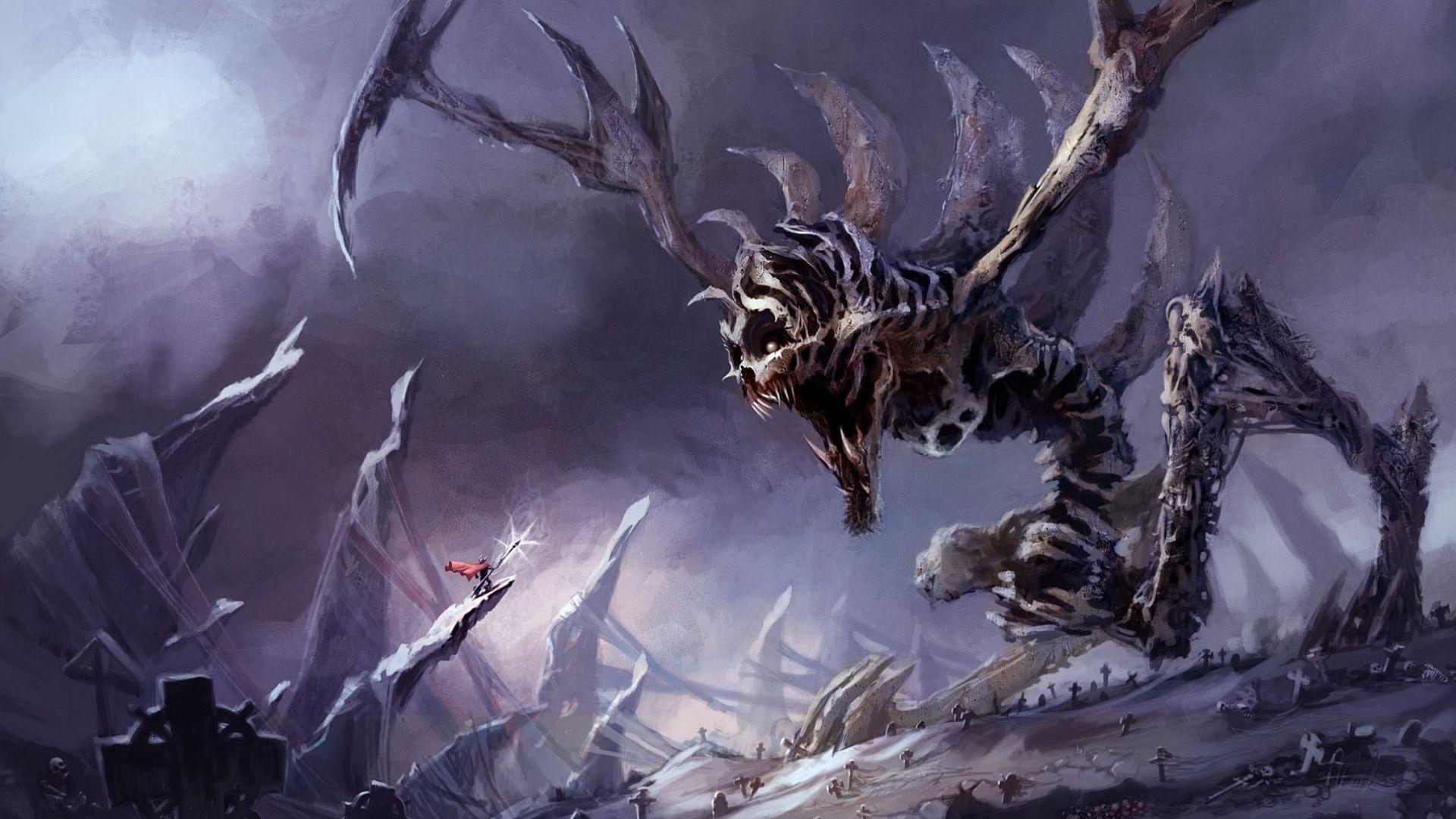 Giant Monster Wallpaper Hd Resolution Giant Monsters Fantasy Battle Wallpaper
