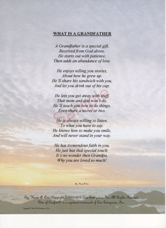 """Five Stanza """"What Is A Grandfather"""" Poem shown on """"Horizon"""" Background"""