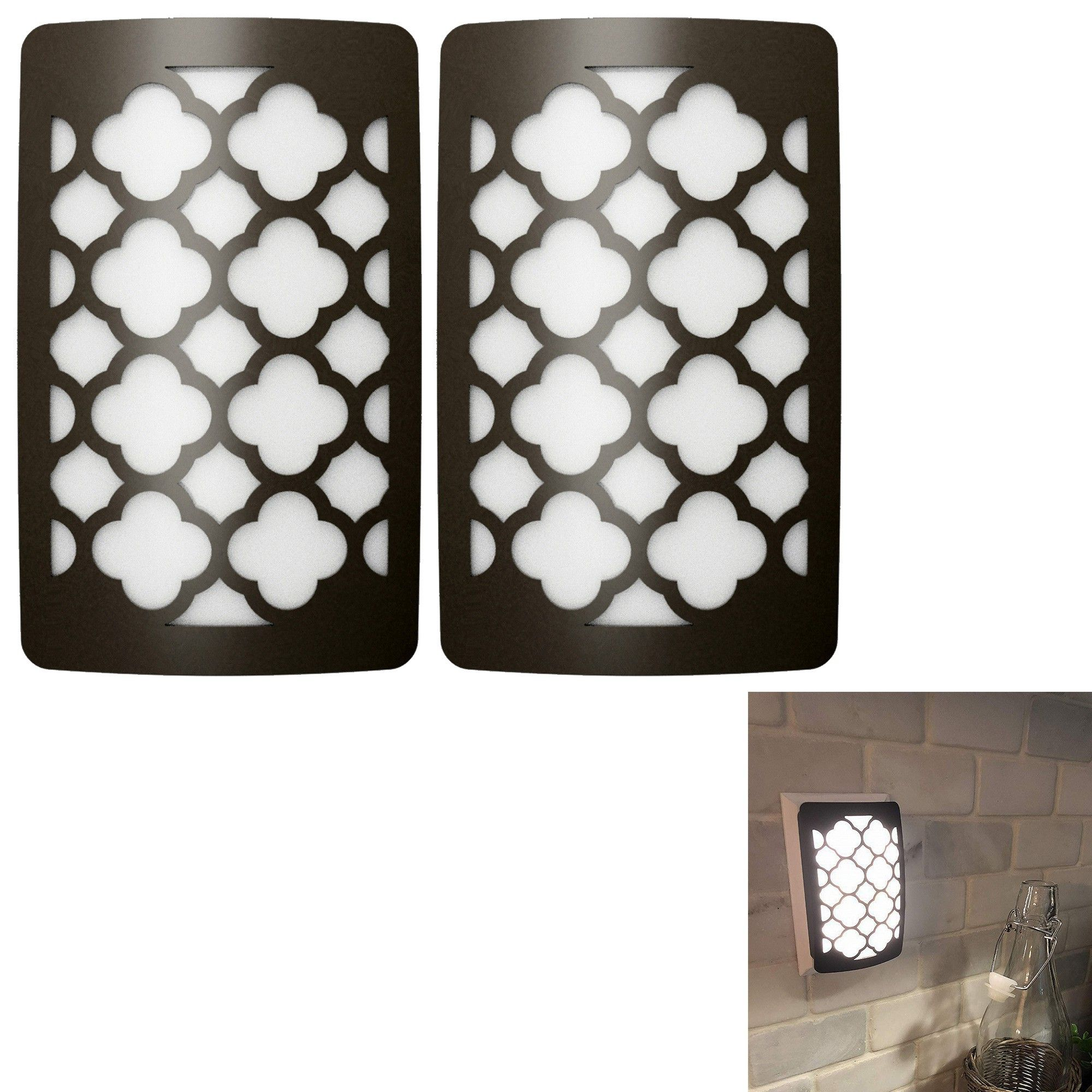 Pack Of 2 Decor Lights W// Lux Sensor For Dusk-To-Dawn illumination