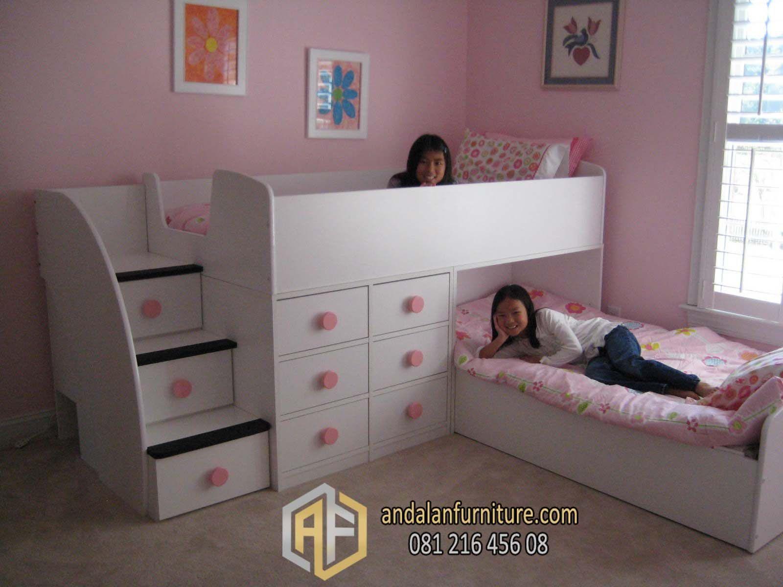 Tempat Tidur Tingkat Anak Kembar Perempuan Minimalis Bunkbed Kamar Tidur Anak Anak Tempat Tidur Anak Girls Bedroom Tempat tidur anak 2 tingkat