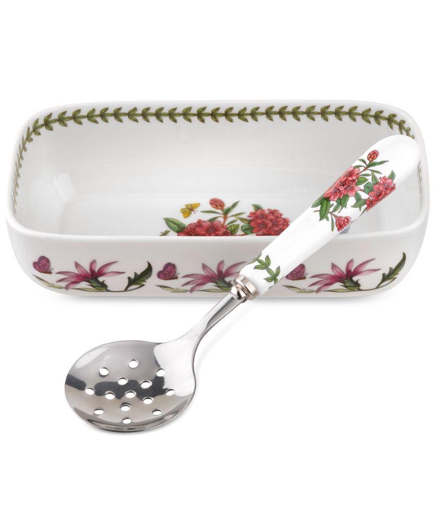 Portmeirion 2 Pc Botanic Garden Cranberry Dish Slotted Spoon