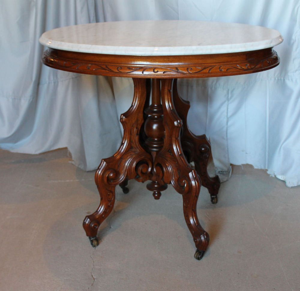 Auction company 751 walnut victorian marble top parlor table ca 1870 - Details About Victorian Walnut Oval Shaped Marble Top Parlor Table
