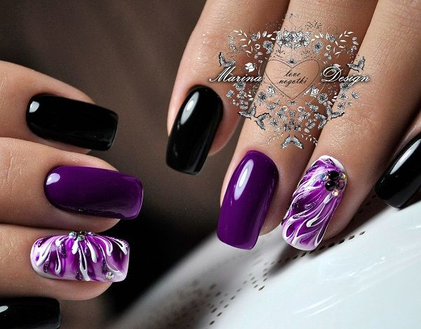 45 Purple Nail Art Designs - 45 Purple Nail Art Designs Fashion Black, Manicure And Purple Nail