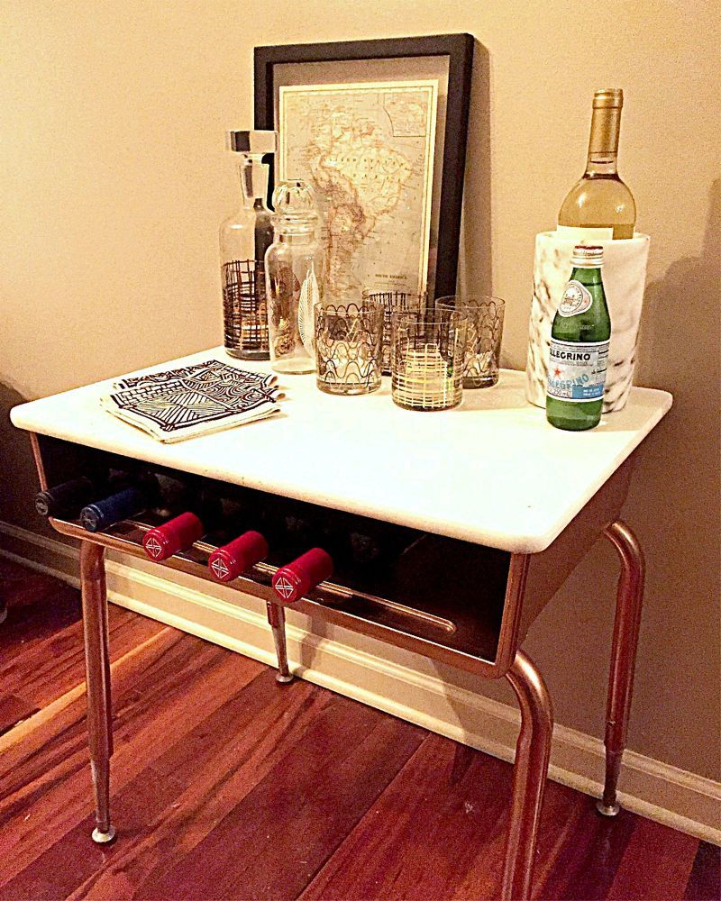 How To Turn An Old School Desk Into A Modern Mini Bar Diy Old