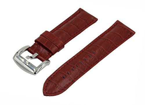£18.99. 22mm Red Crocodile Grain Padded Italian Calfskin Leather