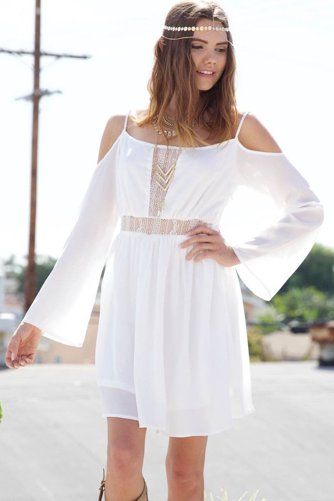 57f83f1c0587 HIPSTER LACE OFF SHOULDER DRESS - WHITE Flow free in this loose fit off  shoulder dress. The semi fit and flare cut with peek-a-boo lace detailing  adds just ...