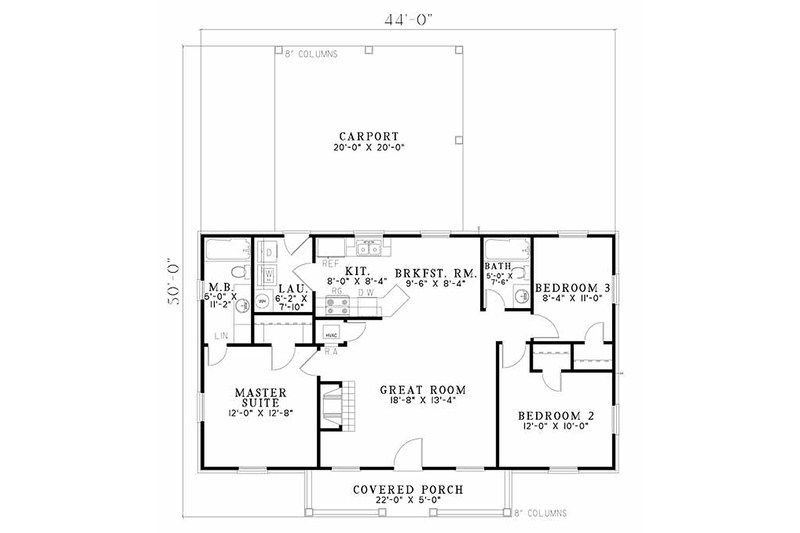 Traditional Style House Plan 3 Beds 2 Baths 1100 Sq Ft Plan 17