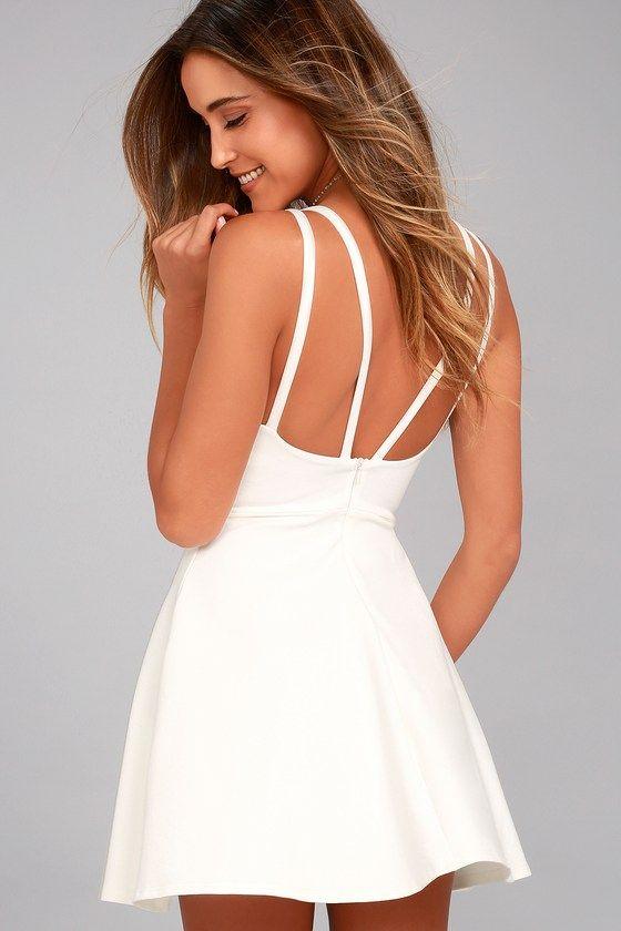 There is so much to adore with the Love Galore White Skater Dress! This  thick stretch knit dress has a fitted bodice with princess seams 53a2caebf