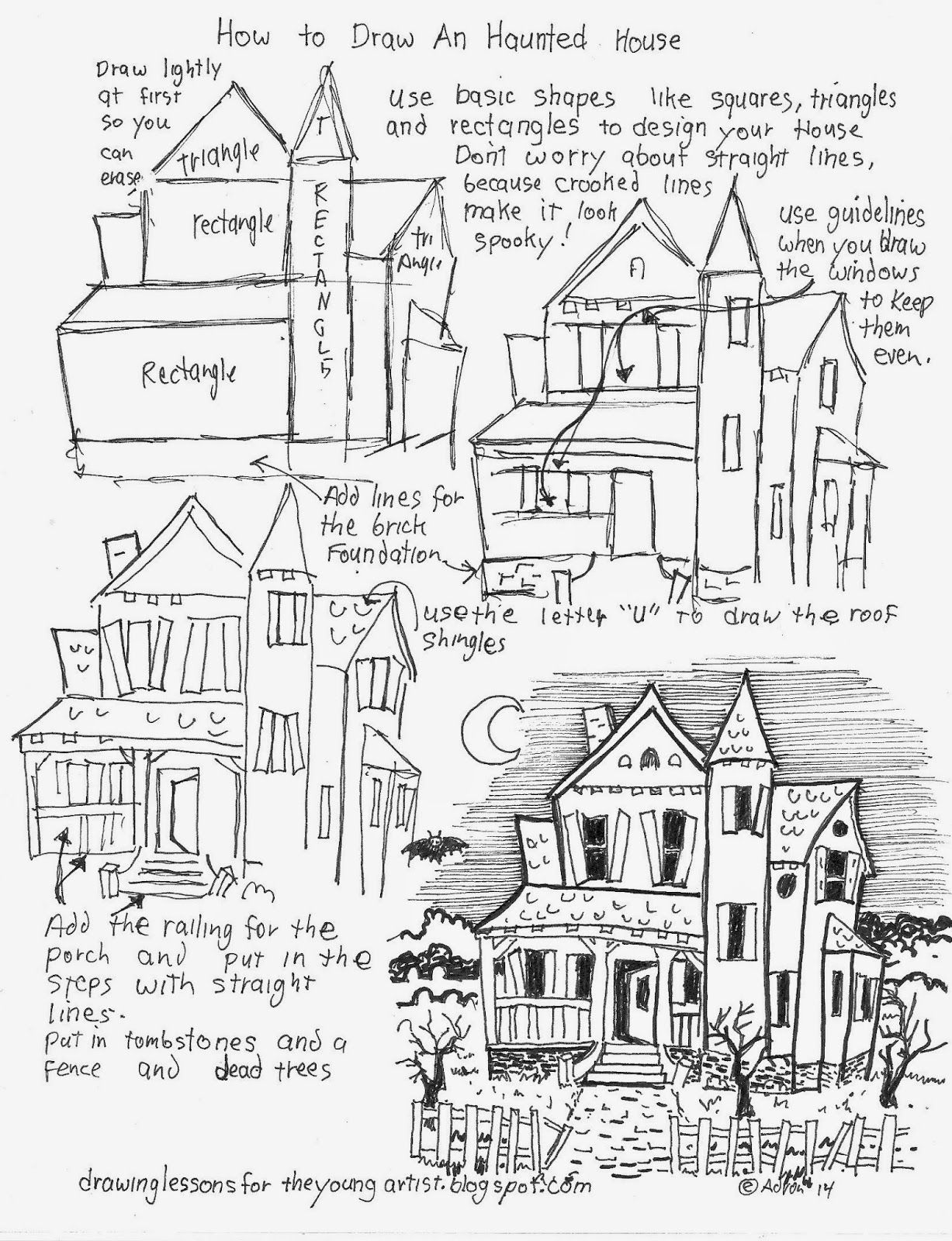 How To Draw A Haunted House Free Worksheet How To Draw