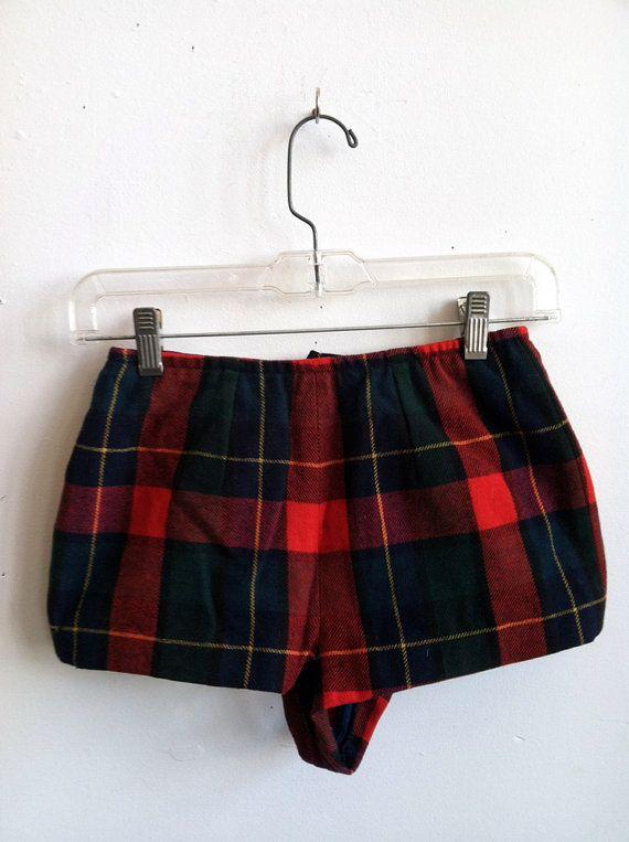 SALE 1950's Virgin Wool Plaid Short Shorts Sz by DetroitVintage