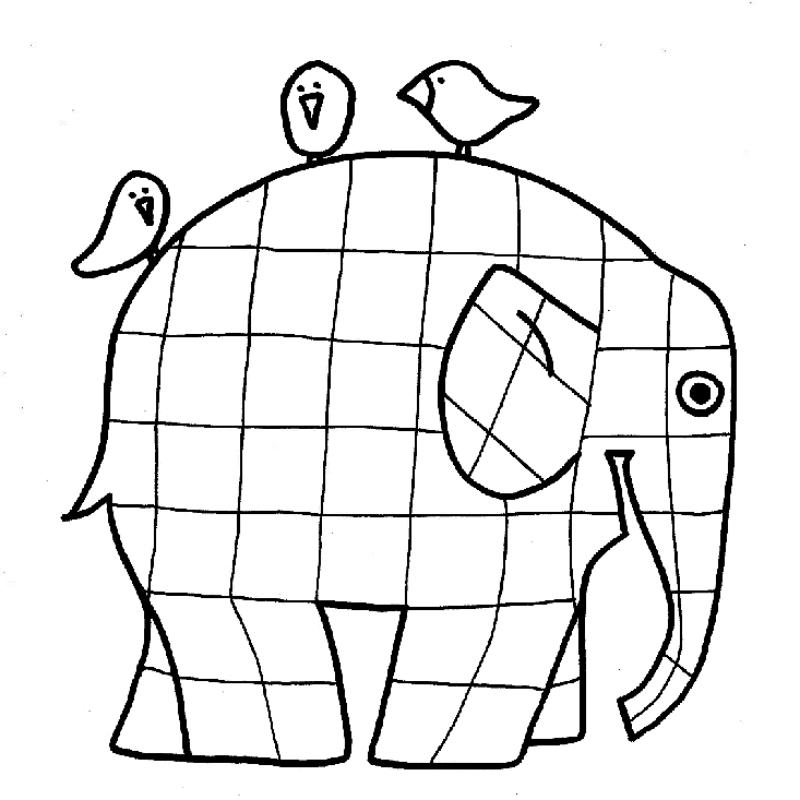 Elmer+coloring+page+2.png 800×800 pixels | Kiga: ABC, Zahlen, Farben ...