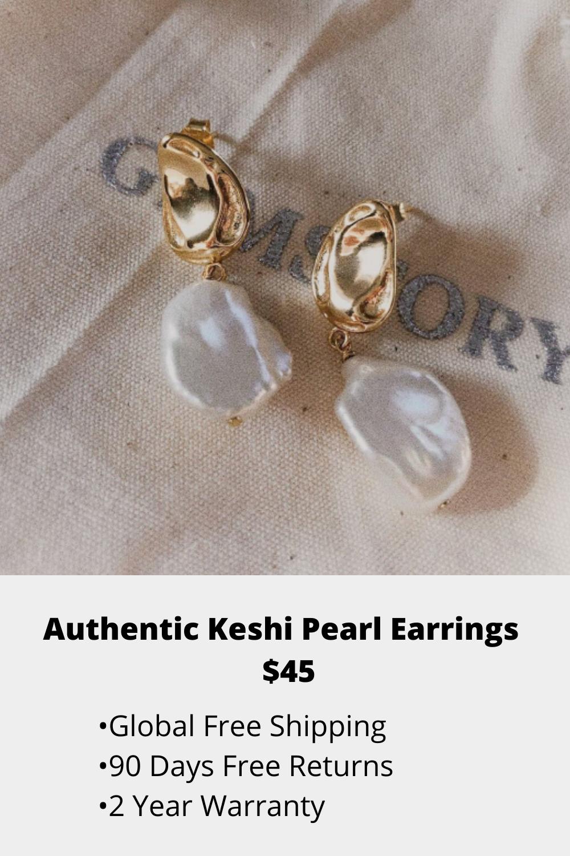 Pearl earrings drop earrings handmade keshi pearl earrings dangle earrings with stones drop earrings delicate long earrings women gift ideas
