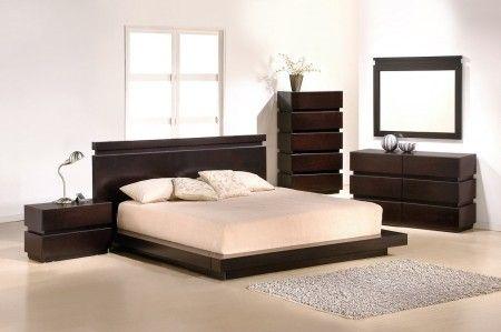 Modern Contemporary Wenge Platform Bedroom Set Opulentitems Com Dormitorios Diseno De Cama Camas Modernas