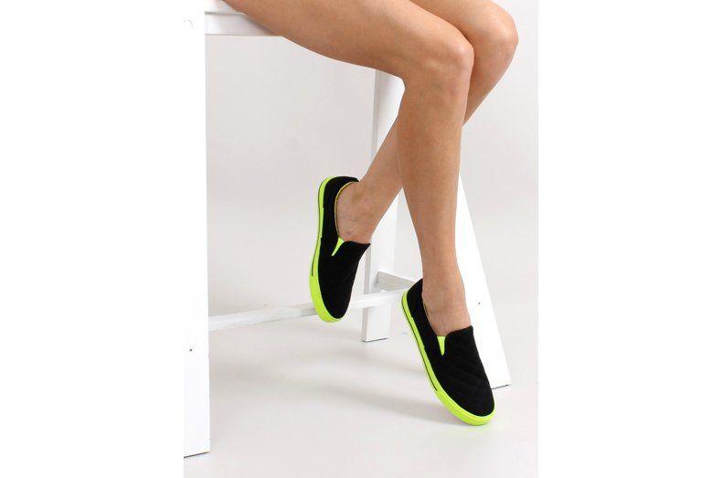 Tenisowki Damskie Obuwiedamskie Czarne Bawelniane Slip On Pikowane H537 Czarny Obuwie Damskie Heels Shoes Fashion
