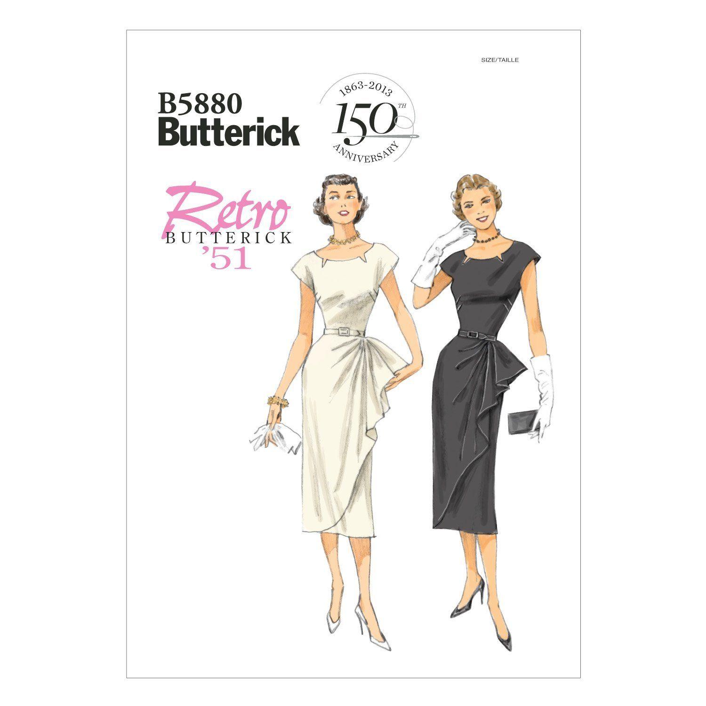 Butterick Schnittmuster 18 E18 Retro Kurzgrößen Damen Kleid,Dress
