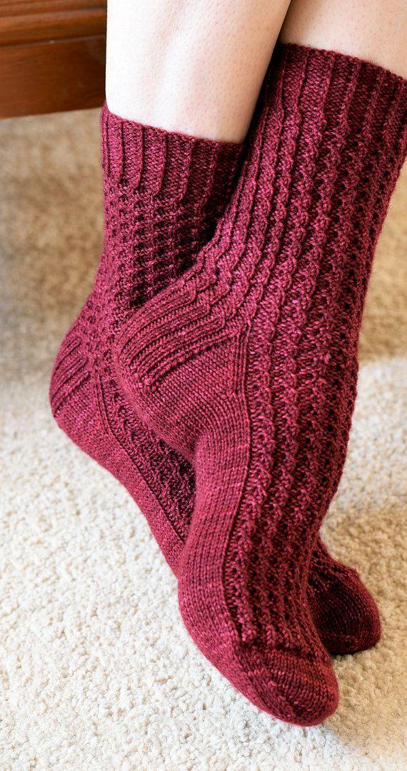 Textured Rib Knit Socks Pattern - ARALUEN SOCKS Knitting Pattern PDF ...