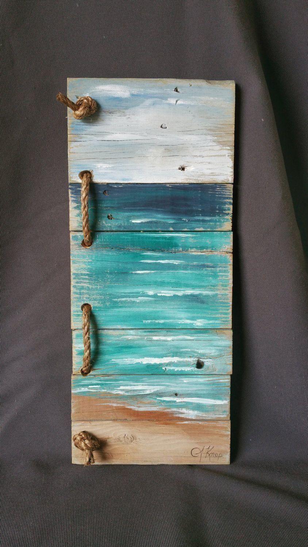 Beach Pallet Wall Art Handmade Hand Painted Seascape With Rope Accent Beach Si Modern Design In 2020 Pallet Wall Art Wood Pallet Art Pallet Wall