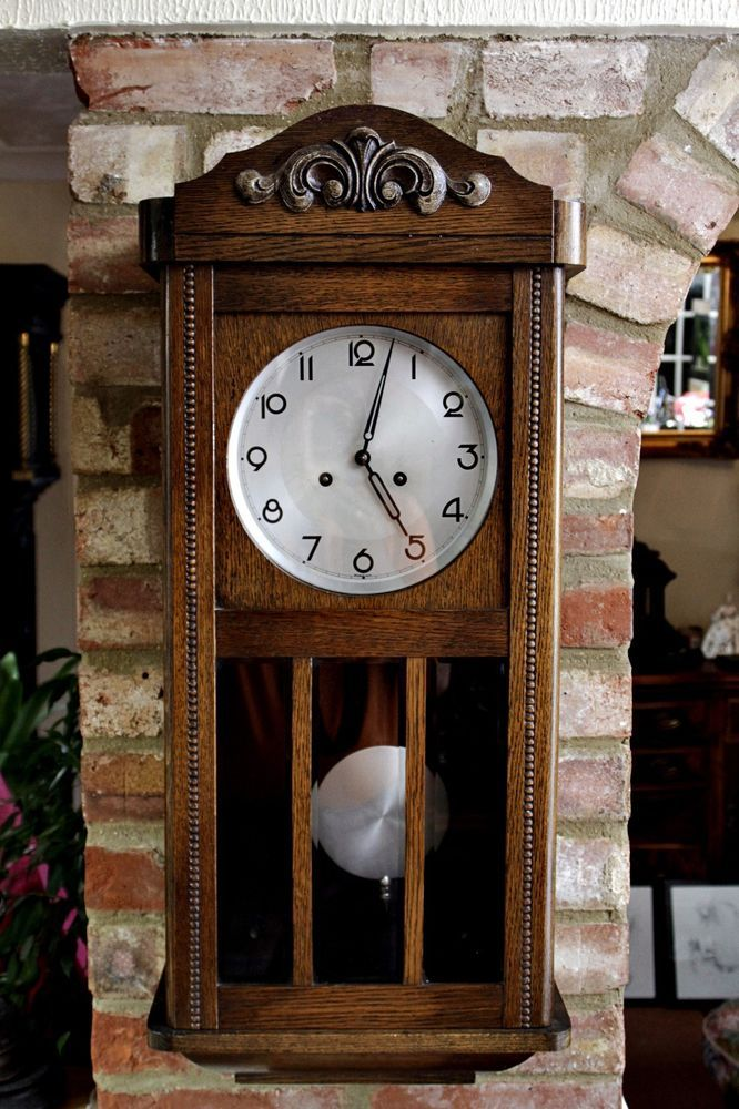 Vintage Art Deco German 8 Day Oak Wall Clocks With Chimes