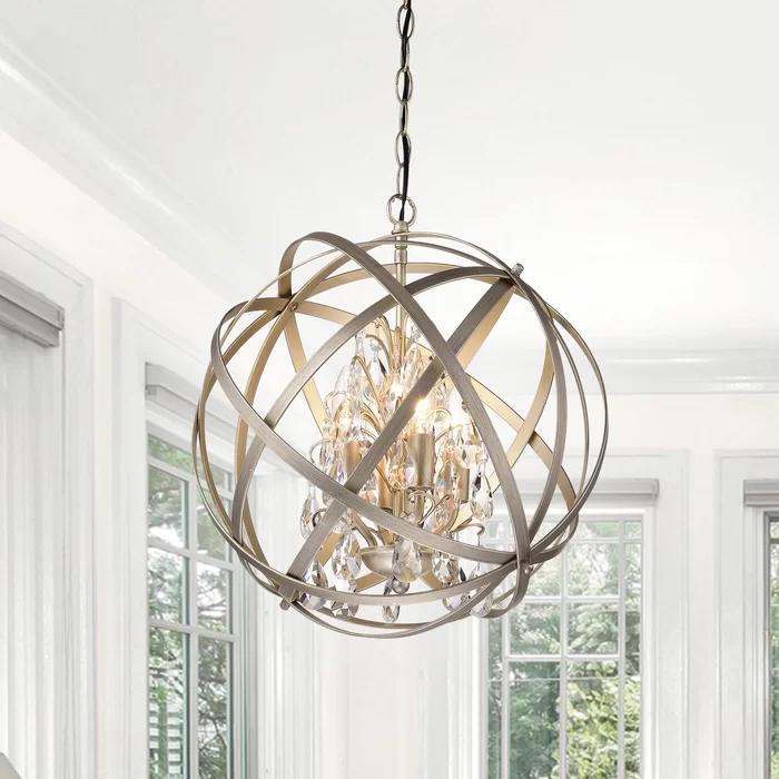Dalveen 4 Light Statement Globe Chandelier With Crystal Accents In 2020 Orb Chandelier Globe Chandelier Crystal Chandelier
