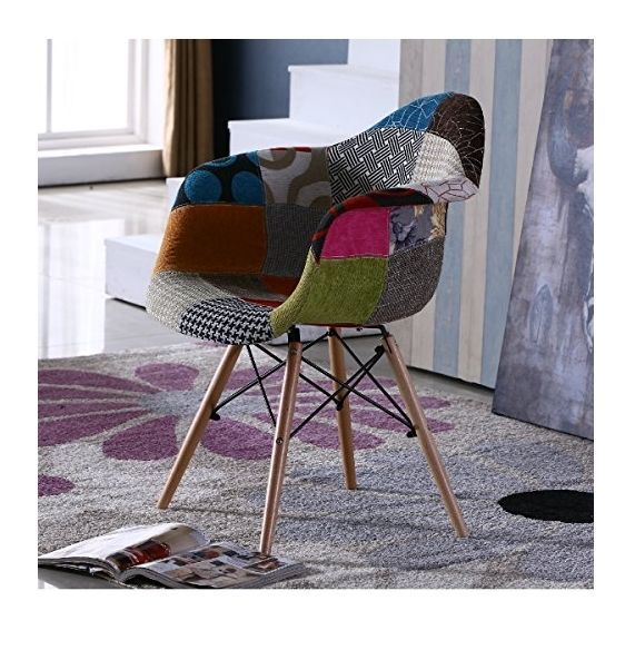 Retro Patchwork Chair Eames Style Comfy Armchair Fabric Patches Colourful Ebay Patchwork Chair Chair Fabric Comfy Armchair