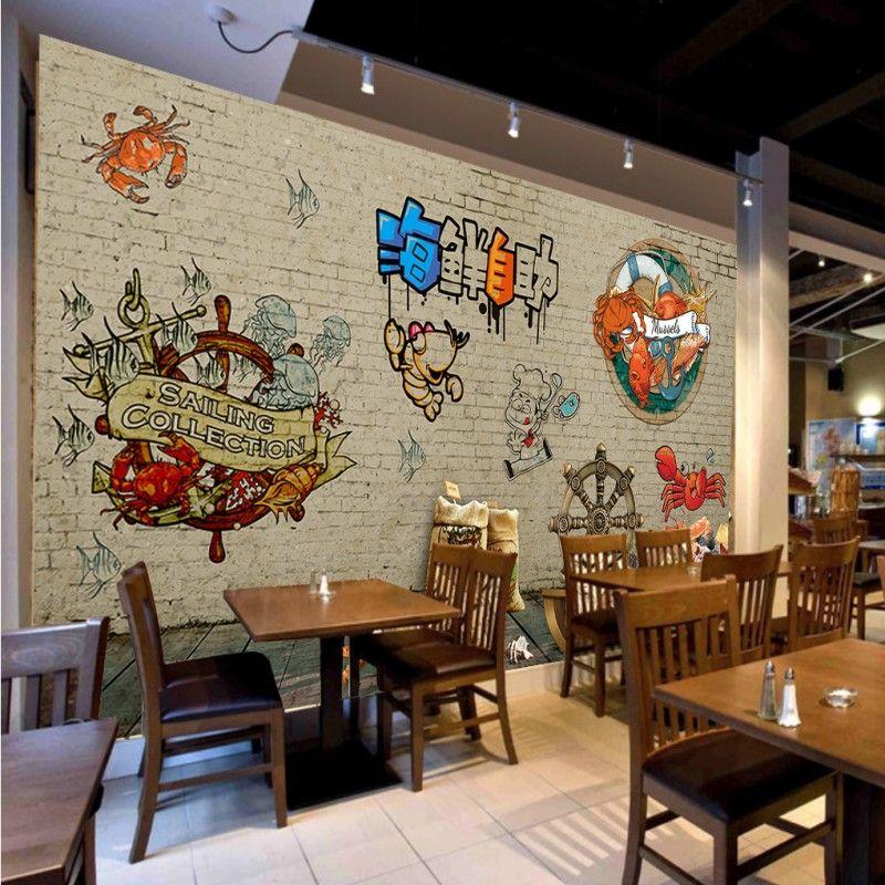 Seafood buffet decorative backdrop design restaurant