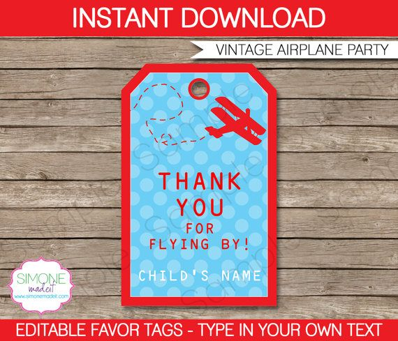 Airplane Favor Tags Thank You Tags Birthday Party Favors