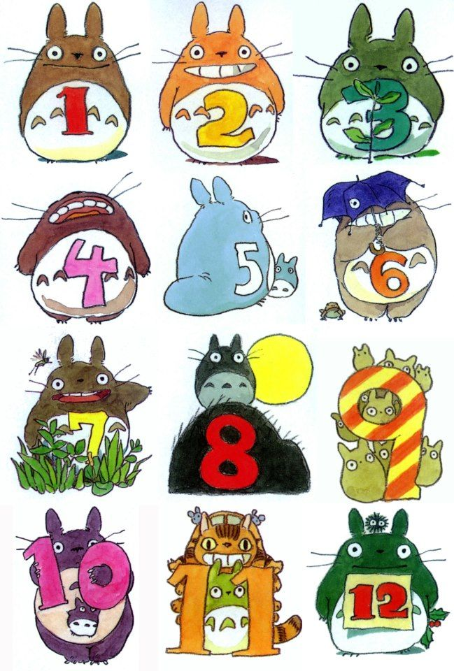 Twelve Months Of Totoro 幼稚園のアート トトロ かわいいイラスト