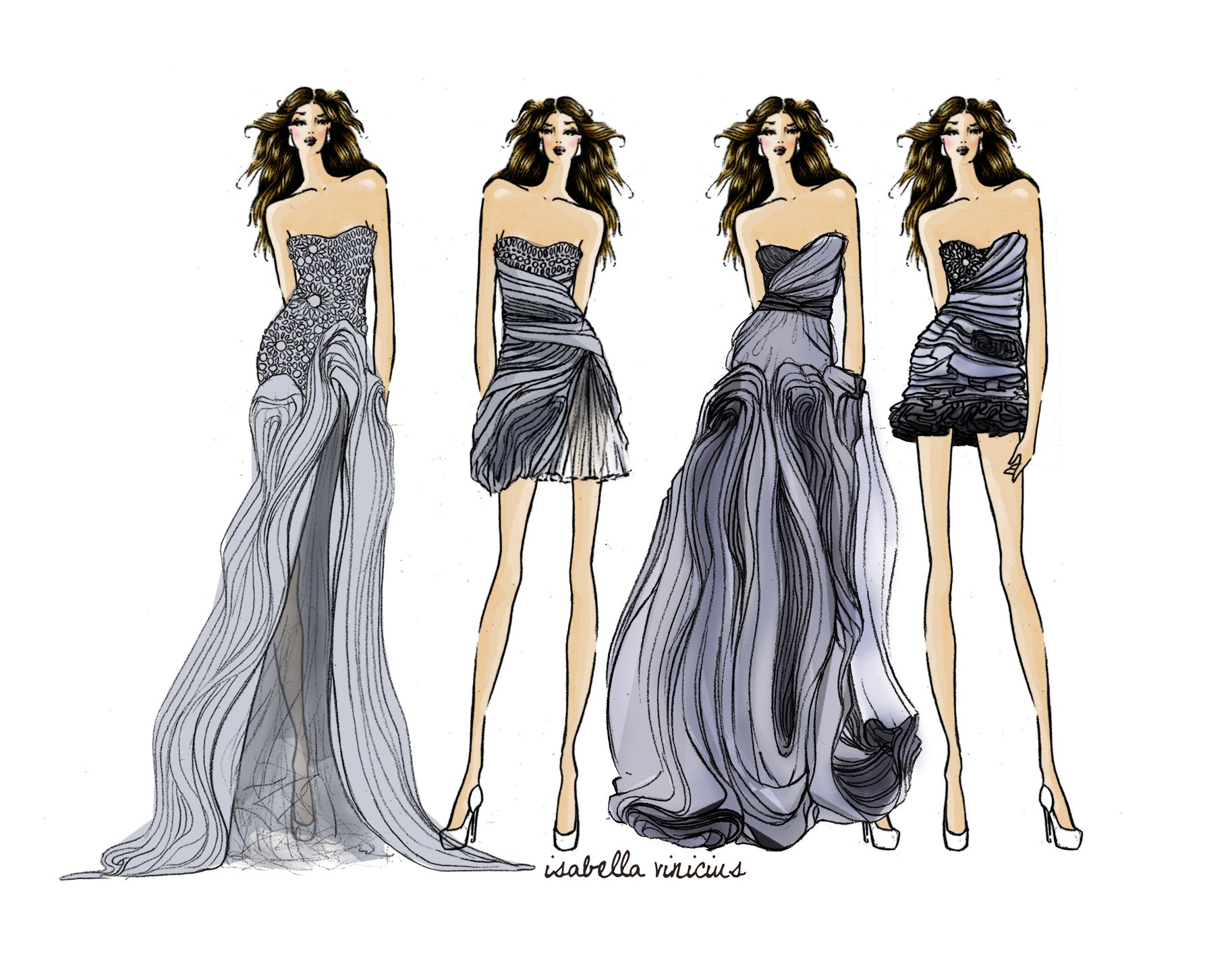 fashion design sketch dress drawing lela rose i like how the dress - Clothing Design Ideas