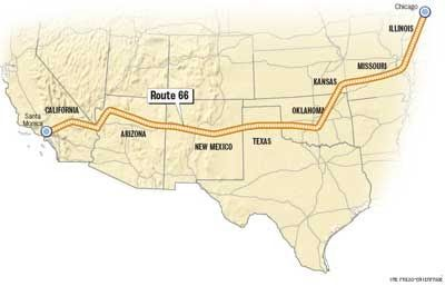 In 1926 US Route 66 2448 miles was an original highway in the