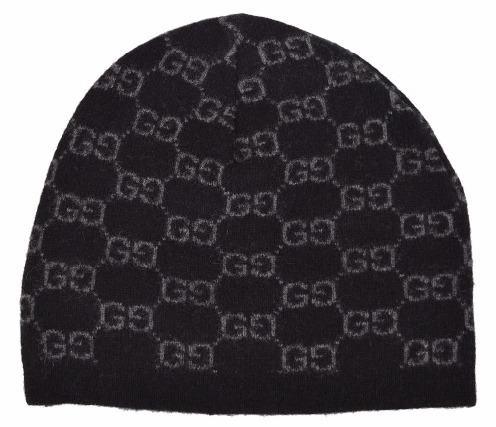 cbd51d985 New Gucci Men s 387577 BLACK 100% Cashmere GG Guccissima Beanie Ski Winter  Hat  Gucci  Beanie