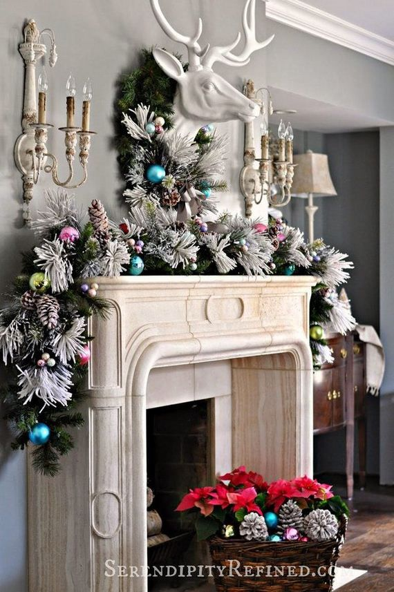 Decorate your mantel using one of these creative ideas and bring more cheer  to your house this holiday season! Elegant Christmas Mantel Decoration ... - Check Out These Awesome Christmas Mantel Decoration Ideas
