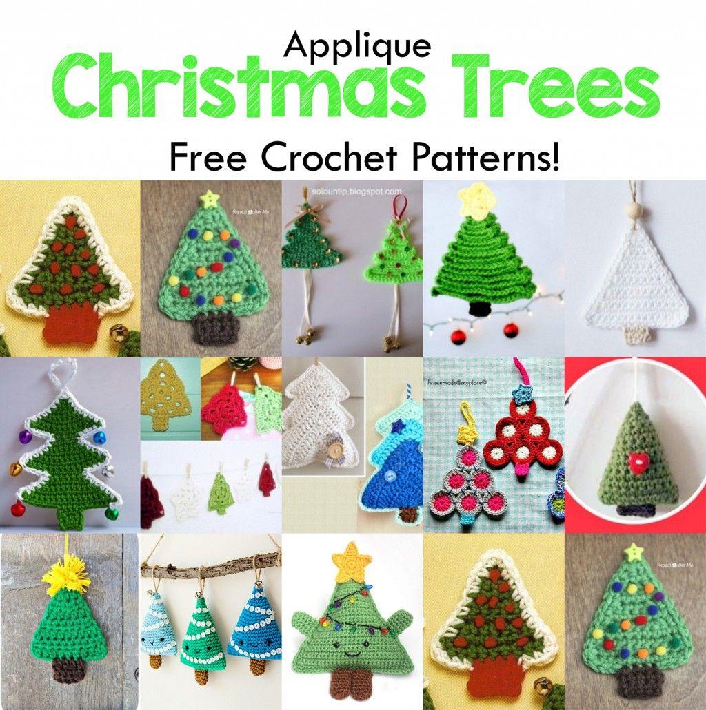 15 Free Christmas Tree Applique Crochet Patterns. | Tree patterns ...