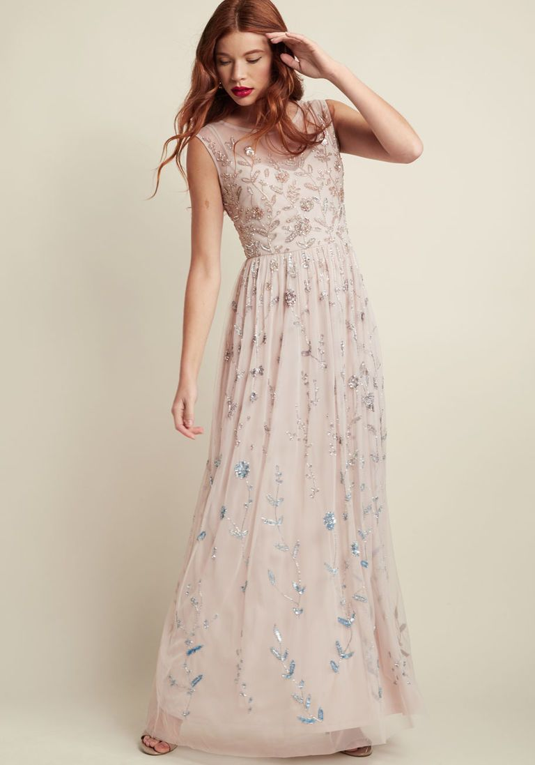 Adrianna papell love of luxe maxi dress in blush adrianna papell
