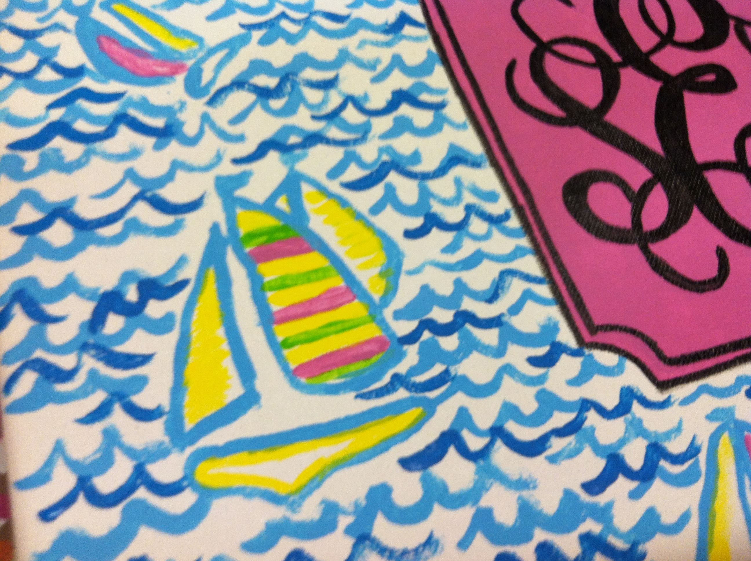 Sailboat Lilly Print And Monogram Tutorial Creative Art Diy Art Painting Tutorial