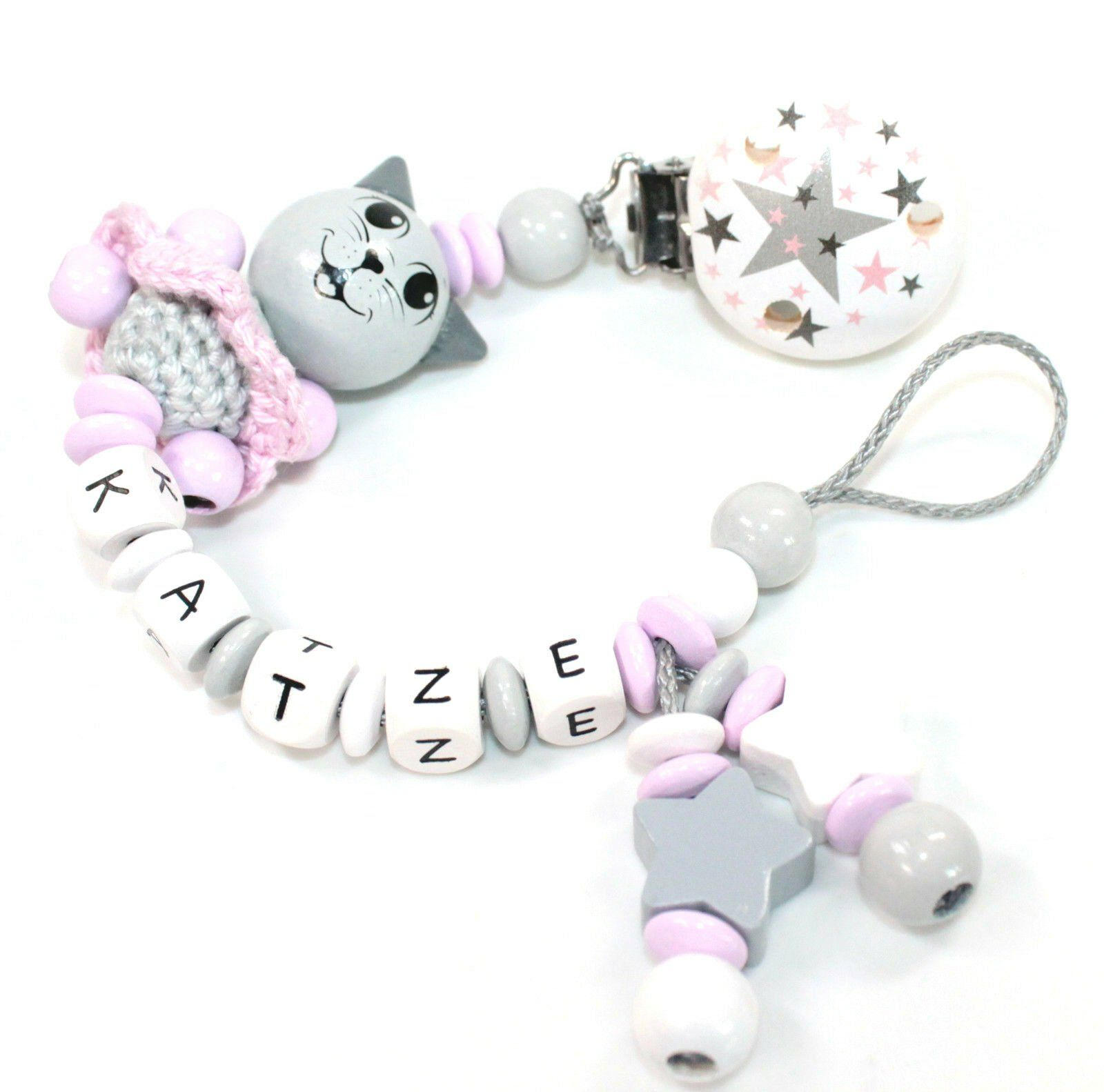 grau rosa Sterne Mädchen Geburt Schnullerkette mit Namen