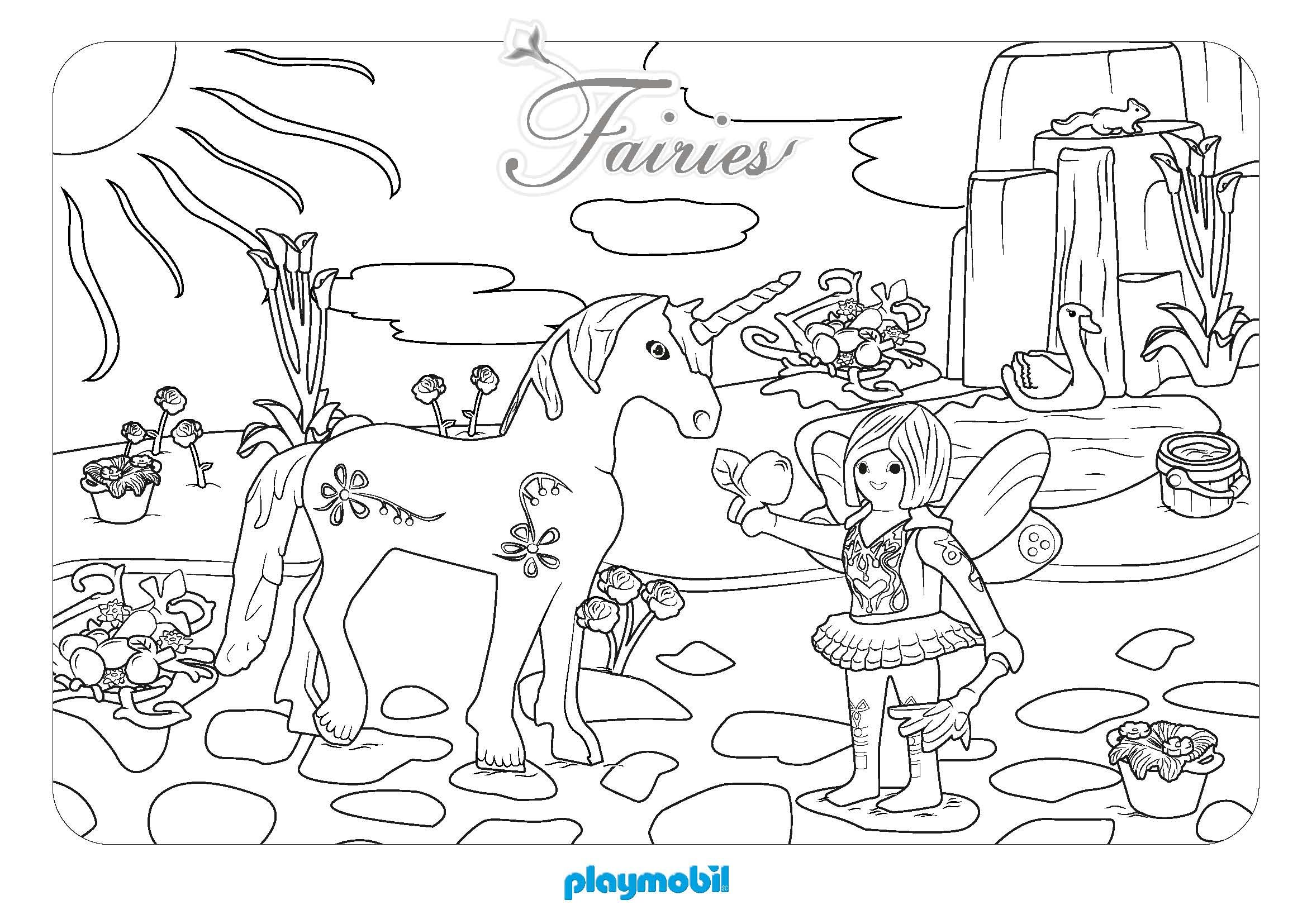 Coloriage f e et licorne playmobil - Coloriage barbie fee ...