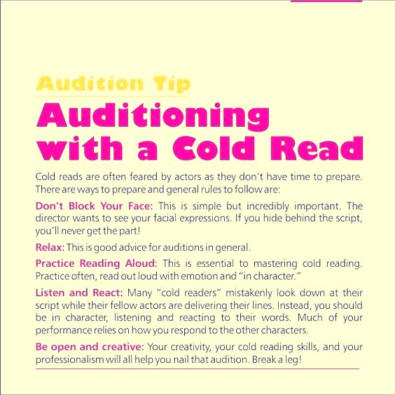 Never fear the cold reads! Just follow these general rules! #Actingtip #actingagent #Actingadvice #Castingsolution #AuditionTip