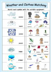 english worksheet weather and clothes matching angielski weather worksheets clothes. Black Bedroom Furniture Sets. Home Design Ideas
