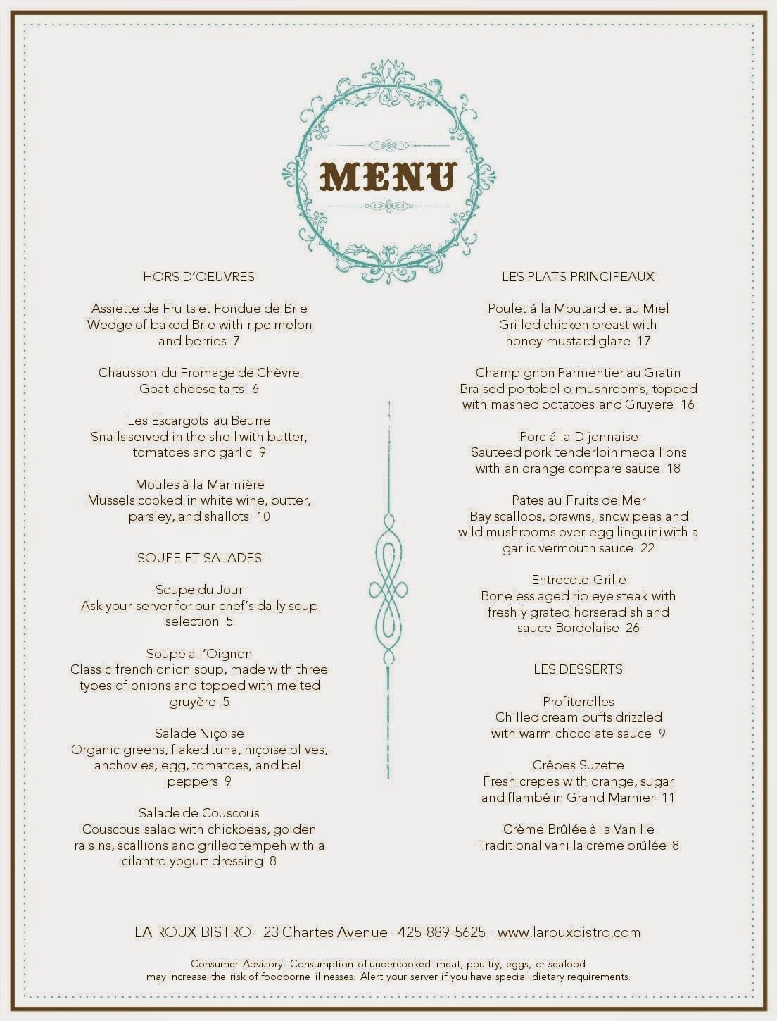 Image result for french menu French cafe menu, French