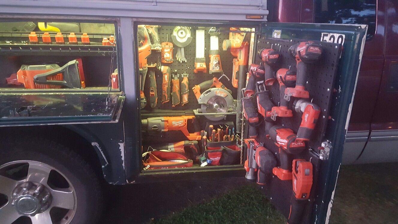 Milwaukee Cordless Tool Layout In My Utility Body Work Truck Organization Truck Organization Work Truck