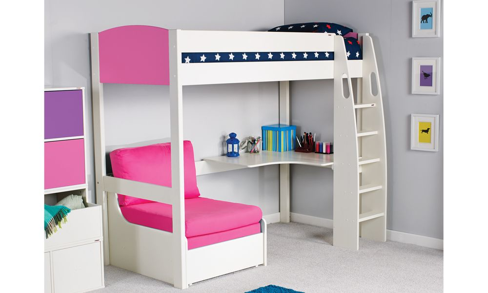 Uno S 5b Highsleeper With Desk Chair Sofa Bunk Bed High Sleeper Bed Mid Sleeper Bed Pink Bedroom Decor