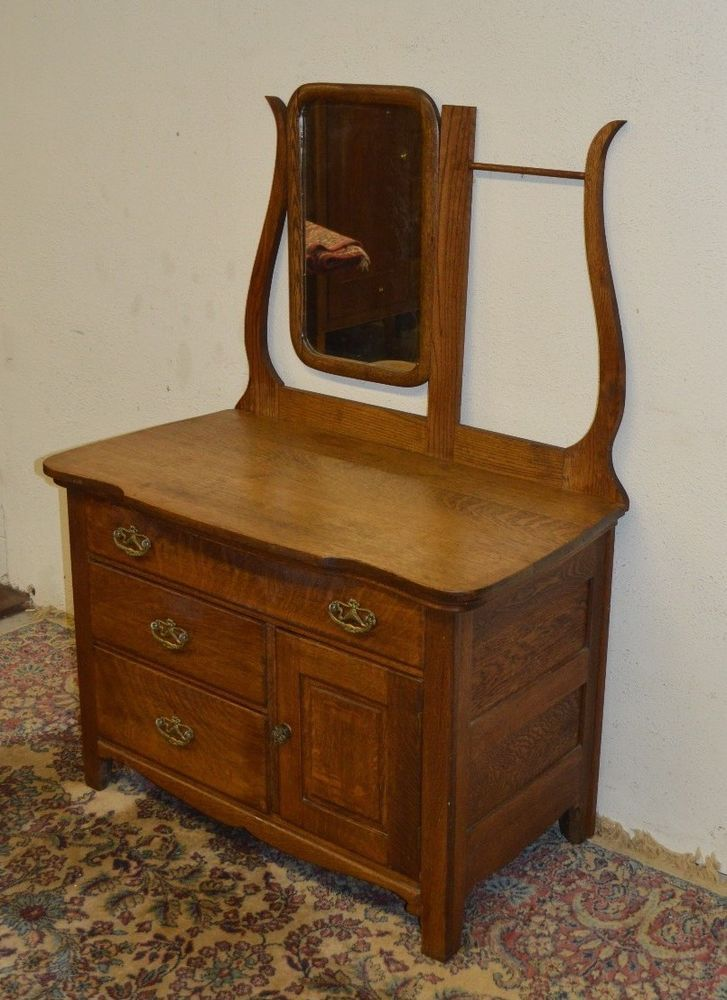 Antique Solid Oak Washstand Commode Dresser W Mirror Harp Towel Bar