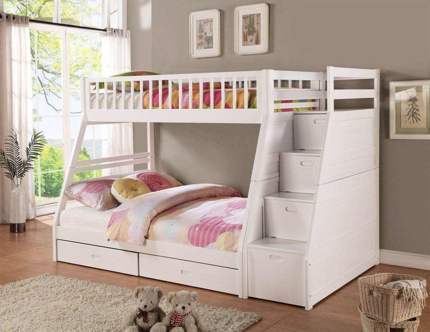 White Bunk Beds With Practical Stairs and Storage White